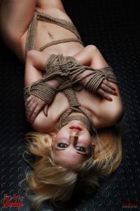 BOUND - tied lying on the floor.Fine Art Bondage - Photo Book Project - https://Fine-Art-of-Bondage.com - Rod Meier Photography - https://Model-Space.de