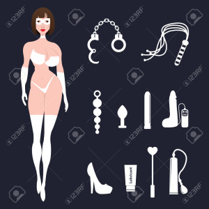 Fetish BDSM sexy woman in lingerie with sex toys.